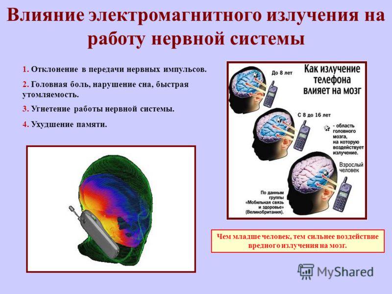 1. Отклонение в передачи нервных импульсов. 3. Угнетение работы нервной системы. 4. Ухудшение памяти. 2. Головная боль, нарушение сна, быстрая утомляемость. Влияние электромагнитного излучения на работу нервной системы Чем младше человек, тем сильнее