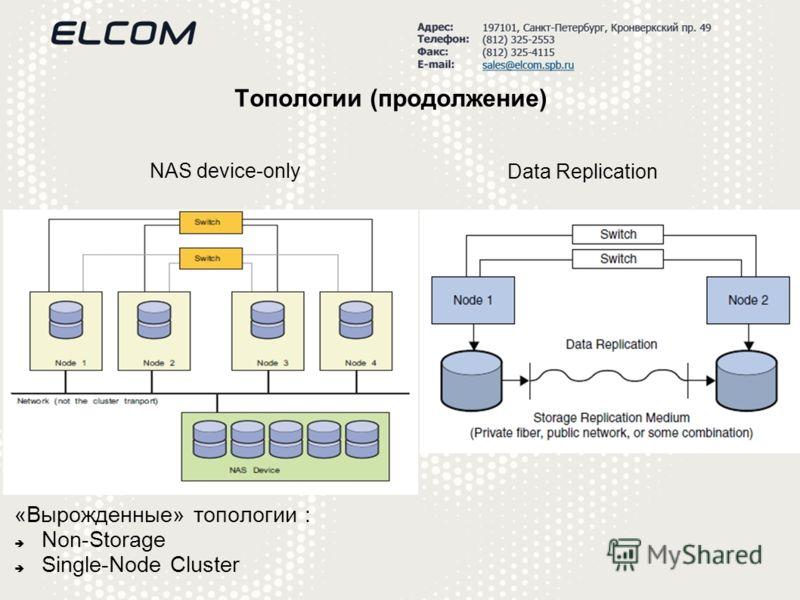 Топологии (продолжение) «Вырожденные» топологии : Non-Storage Single-Node Cluster NAS device-only Data Replication