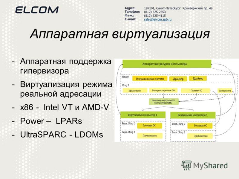 Аппаратная виртуализация -Аппаратная поддержка гипервизора -Виртуализация режима реальной адресации -x86 - Intel VT и AMD-V -Power – LPARs -UltraSPARC - LDOMs