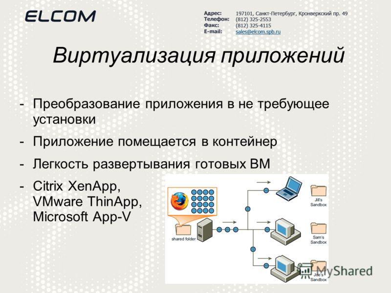 Виртуализация приложений -Преобразование приложения в не требующее установки -Приложение помещается в контейнер -Легкость развертывания готовых ВМ -Citrix XenApp, VMware ThinApp, Microsoft App-V