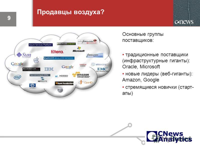 9 Продавцы воздуха? Основные группы поставщиков: традиционные поставщики (инфраструктурные гиганты): Oracle, Microsoft новые лидеры (веб-гиганты): Amazon, Google стремящиеся новички (старт- апы) 9