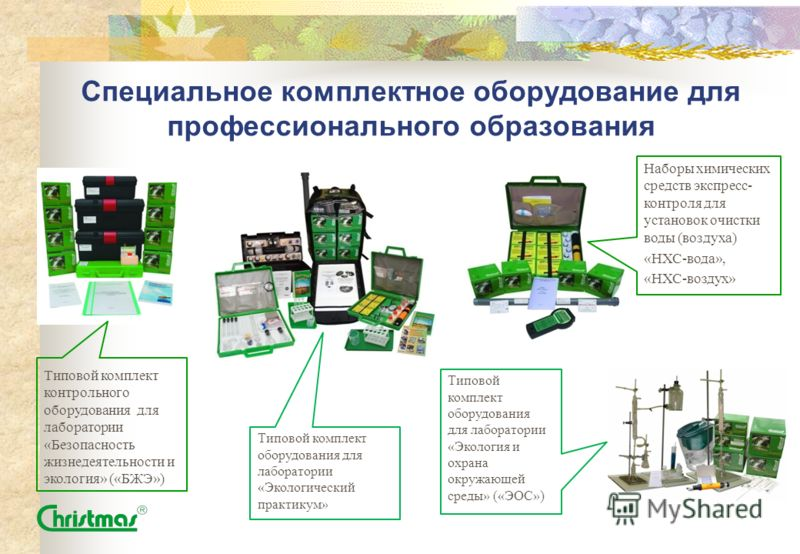 Специальное комплектное оборудование для профессионального образования Наборы химических средств экспресс- контроля для установок очистки воды (воздуха) «НХС-вода», «НХС-воздух» Типовой комплект контрольного оборудования для лаборатории «Безопасность