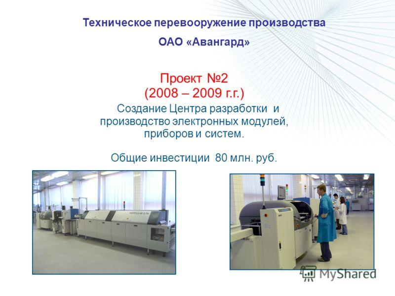 Техническое перевооружение производства ОАО «Авангард» Проект 2 (2008 – 2009 г.г.) Создание Центра разработки и производство электронных модулей, приборов и систем. Общие инвестиции 80 млн. руб.
