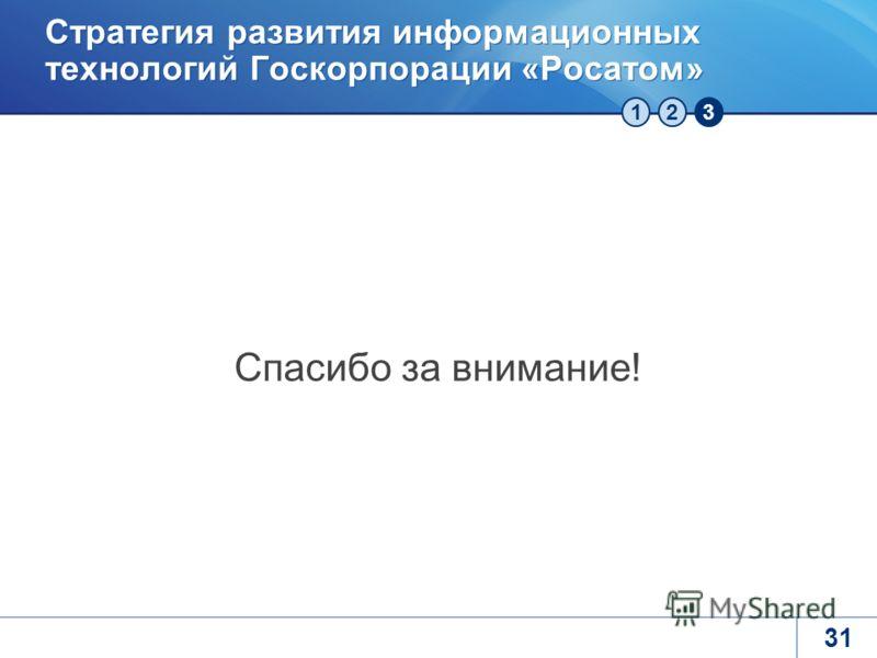 123 Стратегия развития информационных технологий Госкорпорации «Росатом» Спасибо за внимание! 31