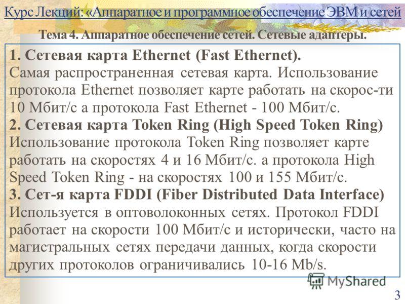 Курс Лекций: «Аппаратное и программное обеспечение ЭВМ и сетей Тема 4. Аппаратное обеспечение сетей. Сетевые адаптеры. 3 1. Сетевая карта Ethernet (Fast Ethernet). Самая распространенная сетевая карта. Использование протокола Ethernet позволяет карте