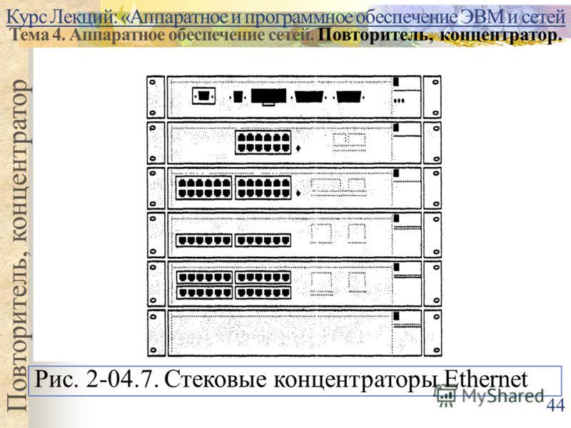 Курс Лекций: «Аппаратное и программное обеспечение ЭВМ и сетей Тема 4. Аппаратное обеспечение сетей. Повторитель, концентратор. Повторитель, концентратор Рис. 2-04.7. Стековые концентраторы Ethernet 44