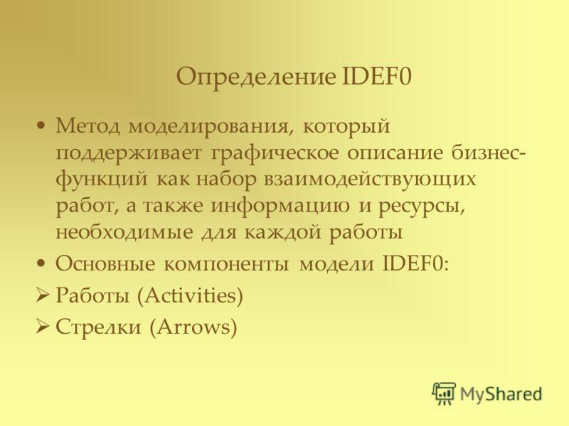 Определение IDEF0 Метод моделирования, который поддерживает графическое описание бизнес- функций как набор взаимодействующих работ, а также информацию и ресурсы, необходимые для каждой работы Основные компоненты модели IDEF0: Работы (Activities) Стре
