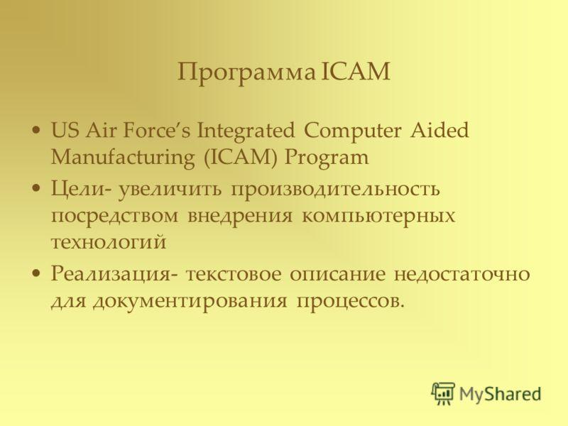 Программа ICAM US Air Forces Integrated Computer Aided Manufacturing (ICAM) Program Цели- увеличить производительность посредством внедрения компьютерных технологий Реализация- текстовое описание недостаточно для документирования процессов.