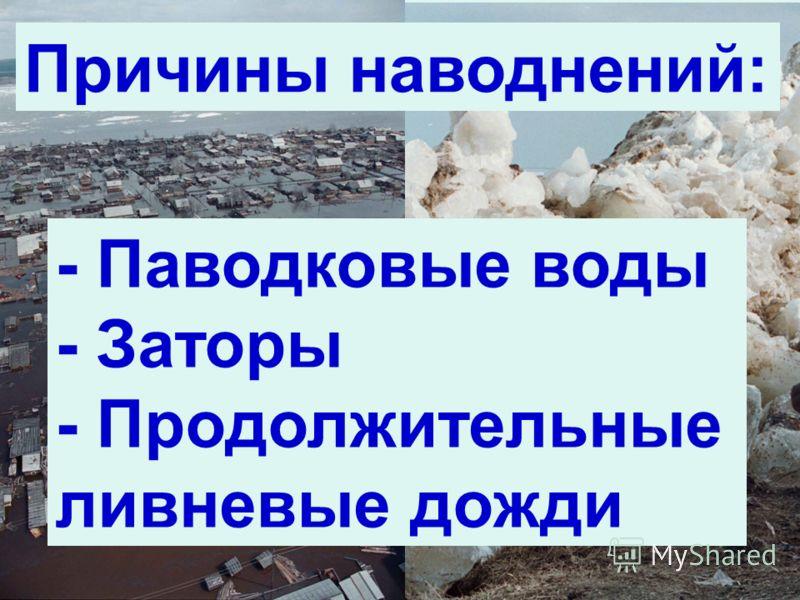 21 Причины наводнений: - Паводковые воды - Заторы - Продолжительные ливневые дожди
