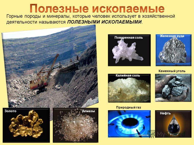 Горные породы и минералы, которые человек использует в хозяйственной деятельности называются ПОЛЕЗНЫМИ ИСКОПАЕМЫМИ. Железная руда Каменный уголь Нефть Природный газ Калийная соль Поваренная соль ЗолотоАлмазы