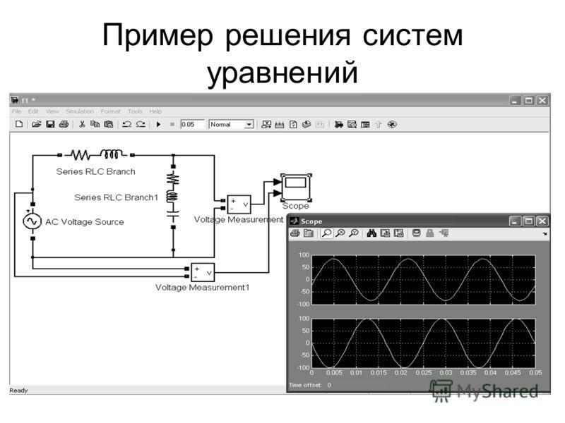 Пример решения систем уравнений
