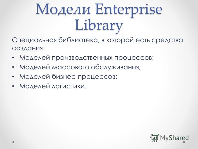 Модели Enterprise Library Специальная библиотека, в которой есть средства создания: Моделей производственных процессов; Моделей массового обслуживания; Моделей бизнес-процессов; Моделей логистики.