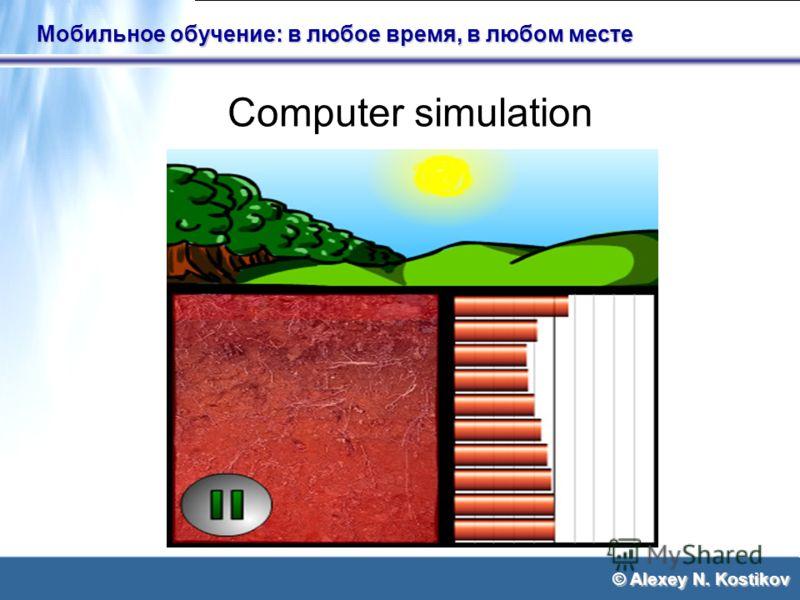© Alexey N. Kostikov Мобильное обучение: в любое время, в любом месте Computer simulation