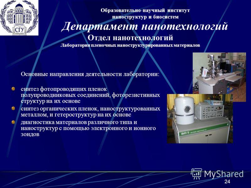 24 Основные направления деятельности лаборатории: синтез фотопроводящих пленок полупроводниковых соединений, фоторезистивных структур на их основе синтез органических пленок, наноструктурованных металлом, и гетероструктур на их основе диагностика мат