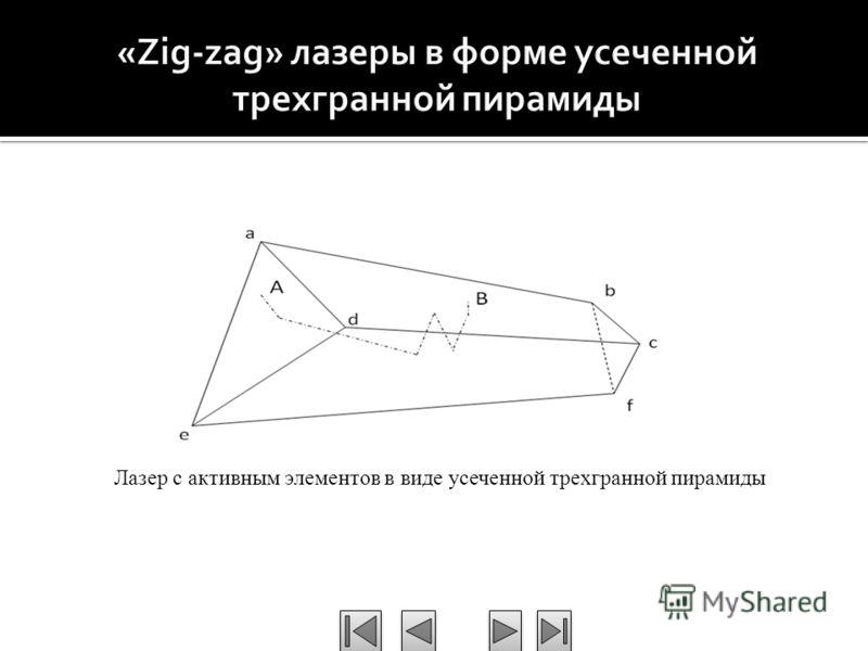 Лазер с активным элементов в виде усеченной трехгранной пирамиды