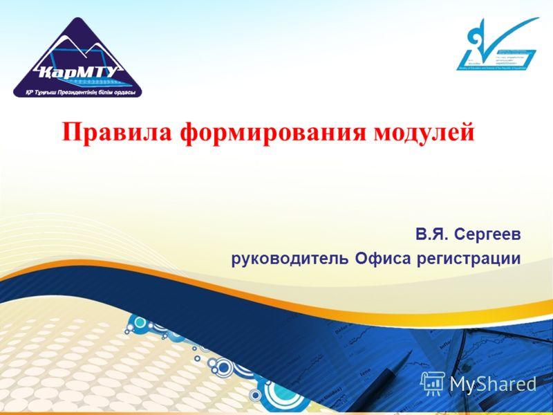 В.Я. Сергеев руководитель Офиса регистрации Правила формирования модулей