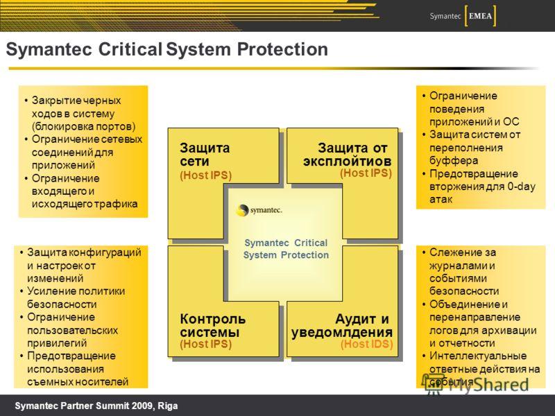 Symantec Partner Summit 2009, Riga Symantec Critical System Protection Защита сети (Host IPS) Защита от эксплойтиов (Host IPS) Контроль системы (Host IPS) Аудит и уведомлдения (Host IDS) Symantec Critical System Protection Ограничение поведения прило