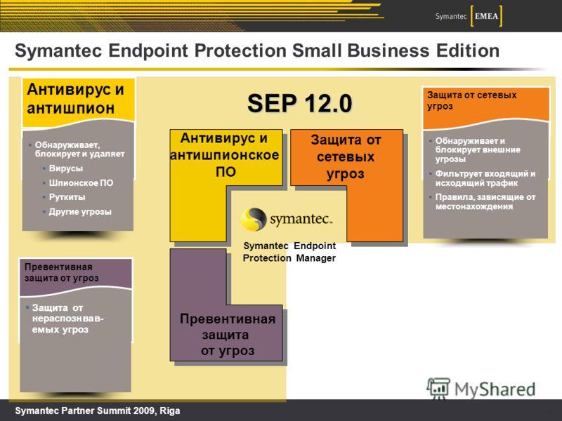 Symantec Partner Summit 2009, Riga 9 SEP 12.0 Symantec Endpoint Protection Small Business Edition Антивирус и антишпионское ПО Защита от сетевых угроз Превентивная защита от угроз Symantec Endpoint Protection Manager Антивирус и антишпион Обнаруживае