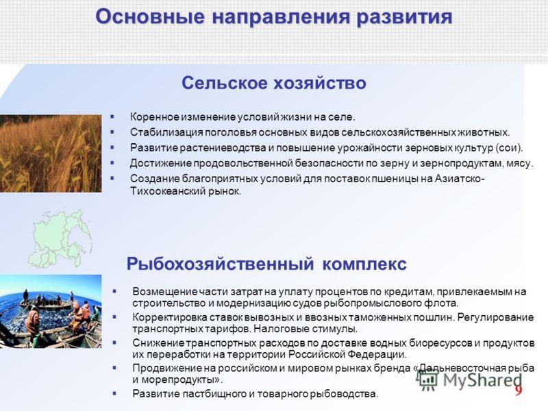 Сельское хозяйство Коренное изменение условий жизни на селе. Стабилизация поголовья основных видов сельскохозяйственных животных. Развитие растениеводства и повышение урожайности зерновых культур (сои). Достижение продовольственной безопасности по зе