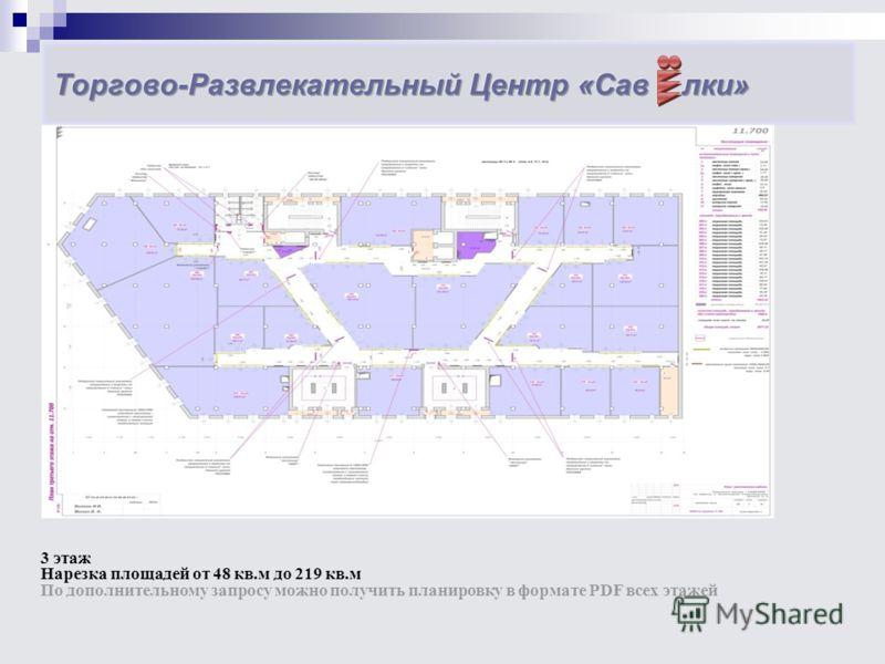 3 этаж Нарезка площадей от 48 кв.м до 219 кв.м По дополнительному запросу можно получить планировку в формате PDF всех этажей