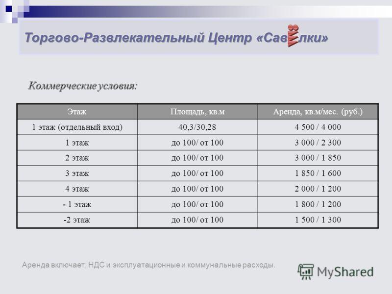 Коммерческие условия: Коммерческие условия: ЭтажПлощадь, кв.мАренда, кв.м/мес. (руб.) 1 этаж (отдельный вход)40,3/30,284 500 / 4 000 1 этаждо 100/ от 1003 000 / 2 300 2 этаждо 100/ от 1003 000 / 1 850 3 этаждо 100/ от 1001 850 / 1 600 4 этаждо 100/ о