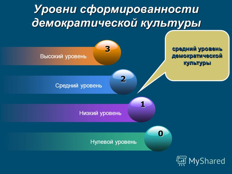 3 Высокий уровень 2 Средний уровень 1 Низкий уровень 0 Нулевой уровень средний уровень демократической культуры Уровни сформированности демократической культуры