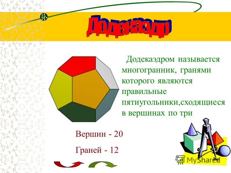 Октаэдром называется многогранник, гранями которого являются равносторонние треугольники,сходящиес я в вершинах по четыре Вершин - 6 Граней - 8