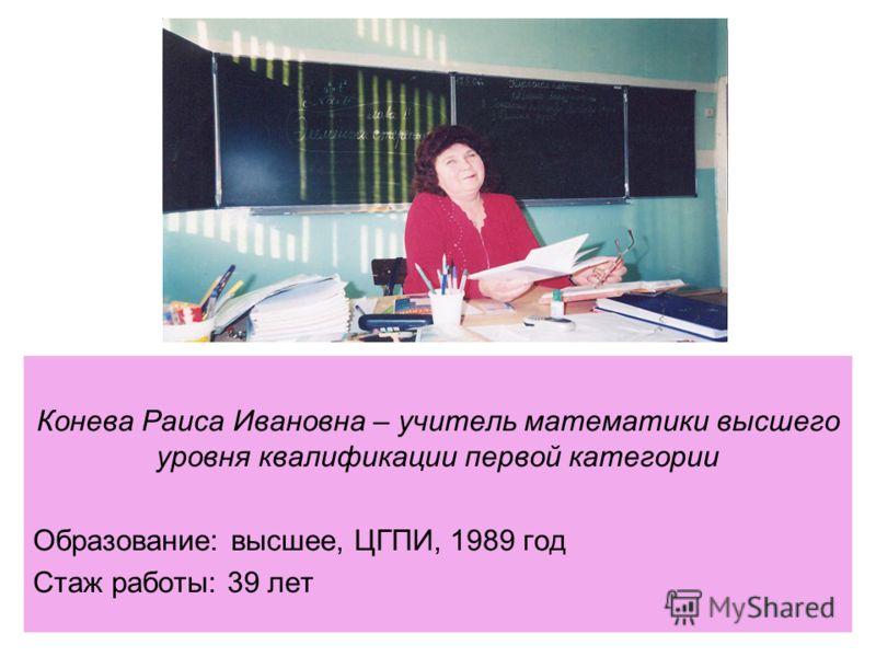 Конева Раиса Ивановна – учитель математики высшего уровня квалификации первой категории Образование: высшее, ЦГПИ, 1989 год Стаж работы: 39 лет
