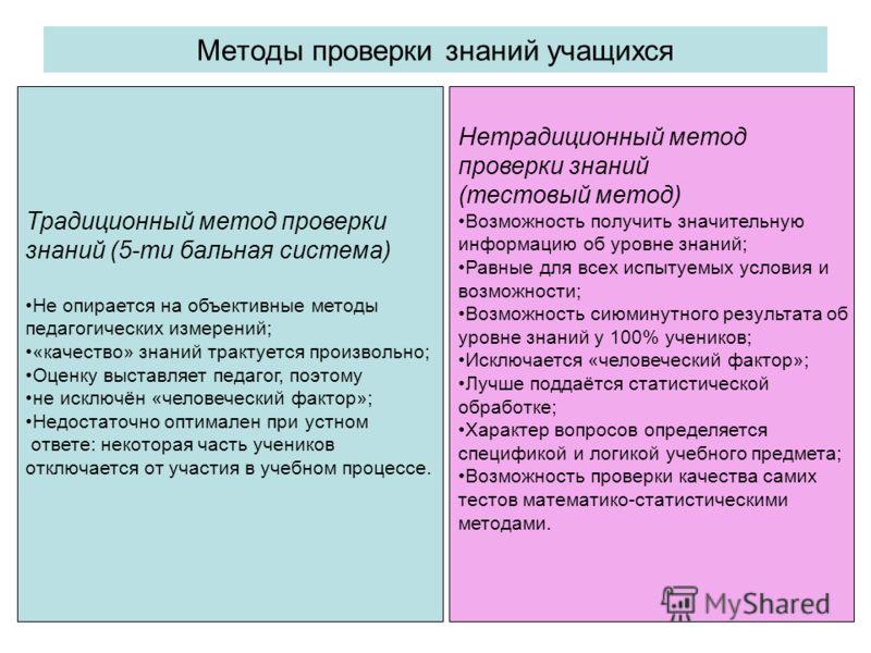 Методы проверки знаний учащихся Традиционный метод проверки знаний (5-ти бальная система) Не опирается на объективные методы педагогических измерений; «качество» знаний трактуется произвольно; Оценку выставляет педагог, поэтому не исключён «человечес
