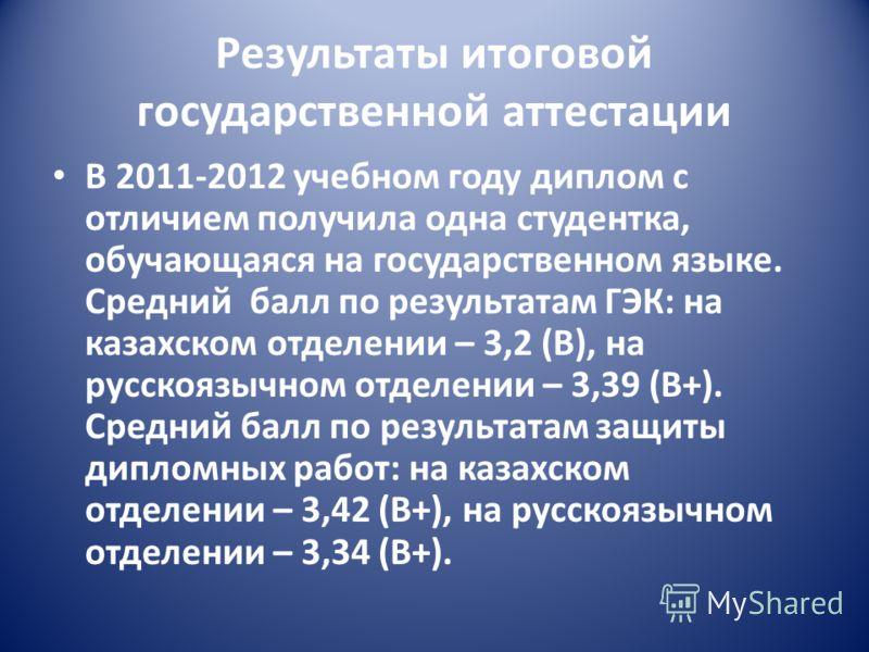 Результаты итоговой государственной аттестации В 2011-2012 учебном году диплом с отличием получила одна студентка, обучающаяся на государственном языке. Средний балл по результатам ГЭК: на казахском отделении – 3,2 (В), на русскоязычном отделении – 3