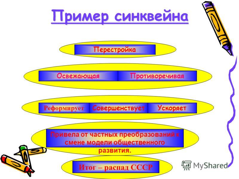 Пример синквейна Перестройка ПротиворечиваяОсвежающая УскоряетСовершенствует Реформирует Привела от частных преобразований к смене модели общественного развития. Итог – распад СССР