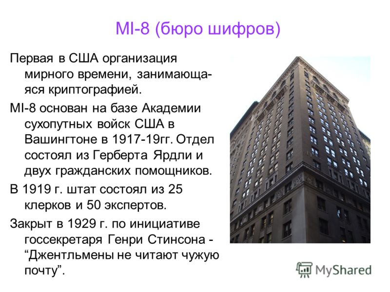 MI-8 (бюро шифров) Первая в США организация мирного времени, занимающа- яся криптографией. MI-8 основан на базе Академии сухопутных войск США в Вашингтоне в 1917-19гг. Отдел состоял из Герберта Ярдли и двух гражданских помощников. В 1919 г. штат сост