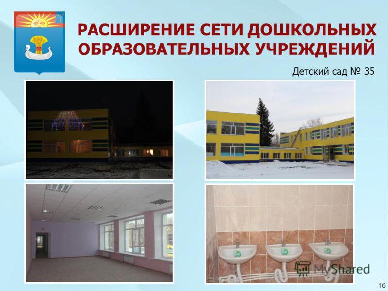 РАСШИРЕНИЕ СЕТИ ДОШКОЛЬНЫХ ОБРАЗОВАТЕЛЬНЫХ УЧРЕЖДЕНИЙ 16 Детский сад 35