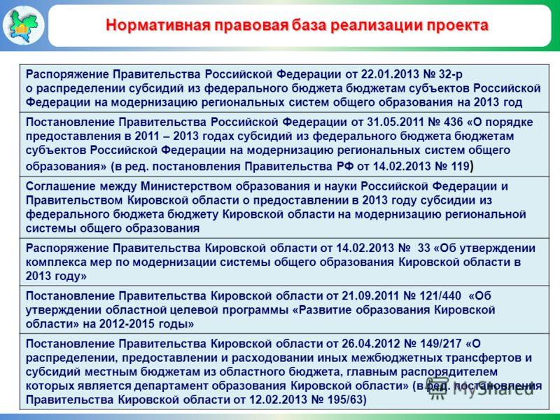 Нормативная правовая база реализации проекта Распоряжение Правительства Российской Федерации от 22.01.2013 32-р о распределении субсидий из федерального бюджета бюджетам субъектов Российской Федерации на модернизацию региональных систем общего образо