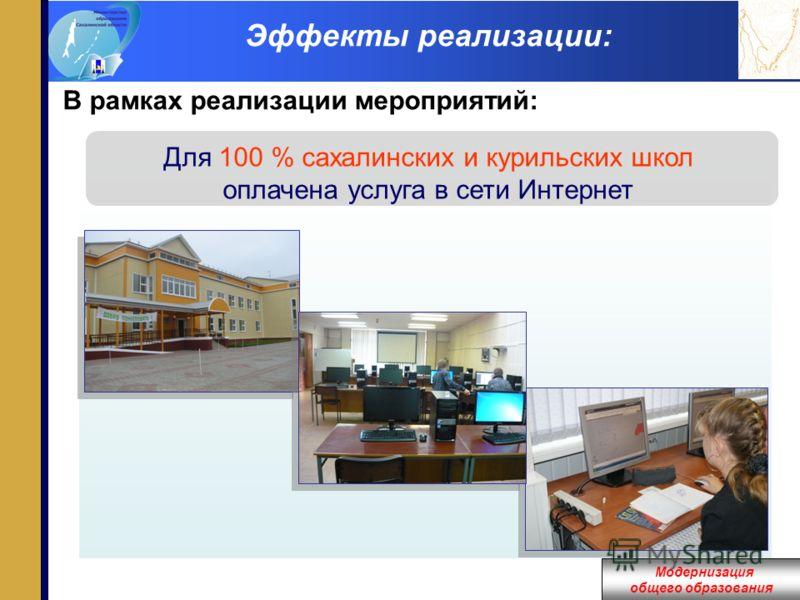 Модернизация общего образования Эффекты реализации: В рамках реализации мероприятий: Для 100 % сахалинских и курильских школ оплачена услуга в сети Интернет