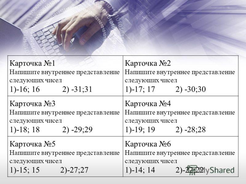 Карточка 1 Напишите внутреннее представление следующих чисел 1)-16; 16 2) -31;31 Карточка 2 Напишите внутреннее представление следующих чисел 1)-17; 17 2) -30;30 Карточка 3 Напишите внутреннее представление следующих чисел 1)-18; 18 2) -29;29 Карточк