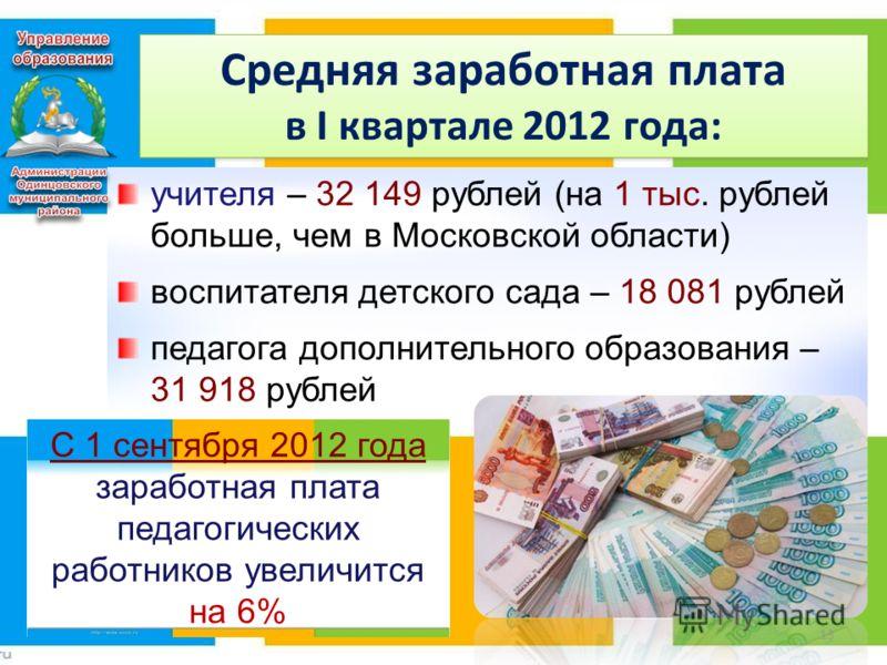Средняя заработная плата в I квартале 2012 года: 13 С 1 сентября 2012 года заработная плата педагогических работников увеличится на 6% учителя – 32 149 рублей (на 1 тыс. рублей больше, чем в Московской области) воспитателя детского сада – 18 081 рубл