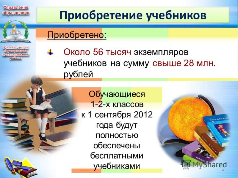Приобретение учебников 14 Приобретено: Около 56 тысяч экземпляров учебников на сумму свыше 28 млн. рублей Обучающиеся 1-2-х классов к 1 сентября 2012 года будут полностью обеспечены бесплатными учебниками