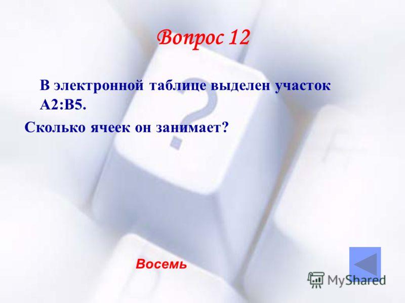Вопрос 12 В электронной таблице выделен участок А2:В5. Сколько ячеек он занимает? Восемь