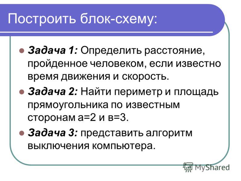 Построить блок-схему: Задача 1: Определить расстояние, пройденное человеком, если известно время движения и скорость. Задача 2: Найти периметр и площадь прямоугольника по известным сторонам а=2 и в=3. Задача 3: представить алгоритм выключения компьют