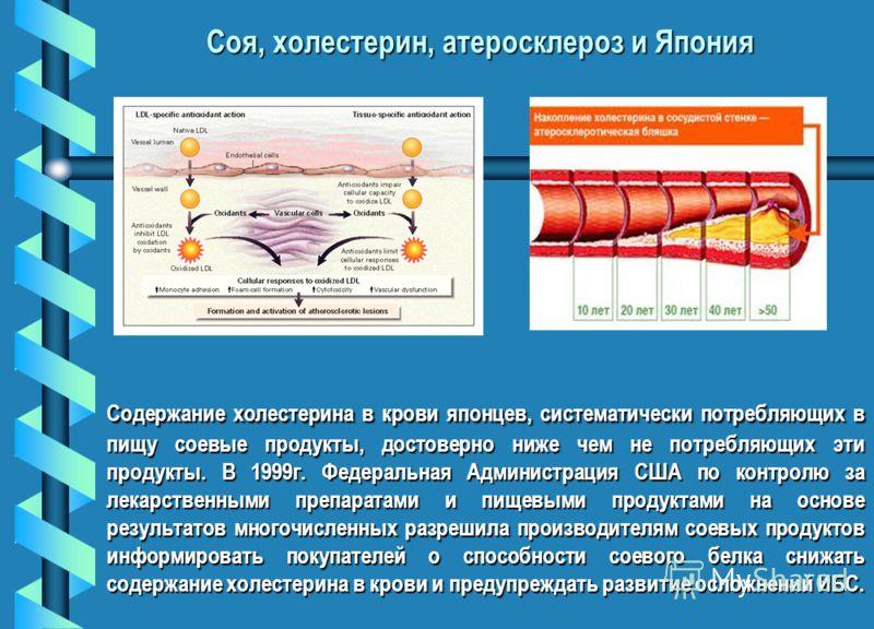 Содержание холестерина в крови японцев, систематически потребляющих в пищу соевые продукты, достоверно ниже чем не потребляющих эти продукты. В 1999г. Федеральная Администрация США по контролю за лекарственными препаратами и пищевыми продуктами на ос