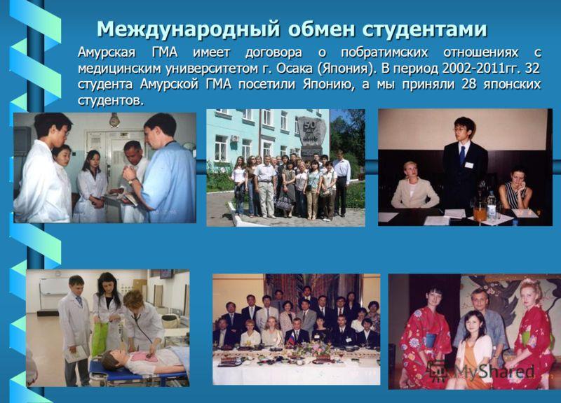 Международный обмен студентами Амурская ГМА имеет договора о побратимских отношениях с медицинским университетом г. Осака (Япония). В период 2002-2011гг. 32 студента Амурской ГМА посетили Японию, а мы приняли 28 японских студентов.
