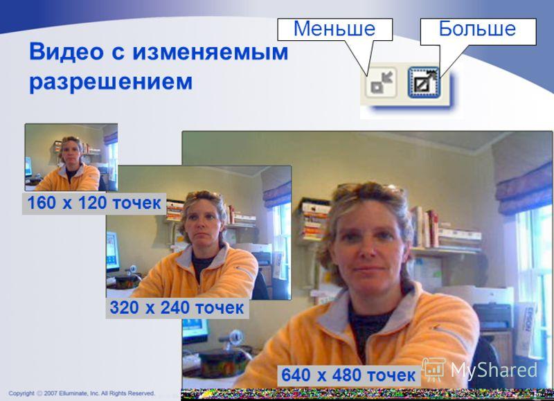 Видео с изменяемым разрешением 320 x 240 точек 160 x 120 точек 640 x 480 точек БольшеМеньше