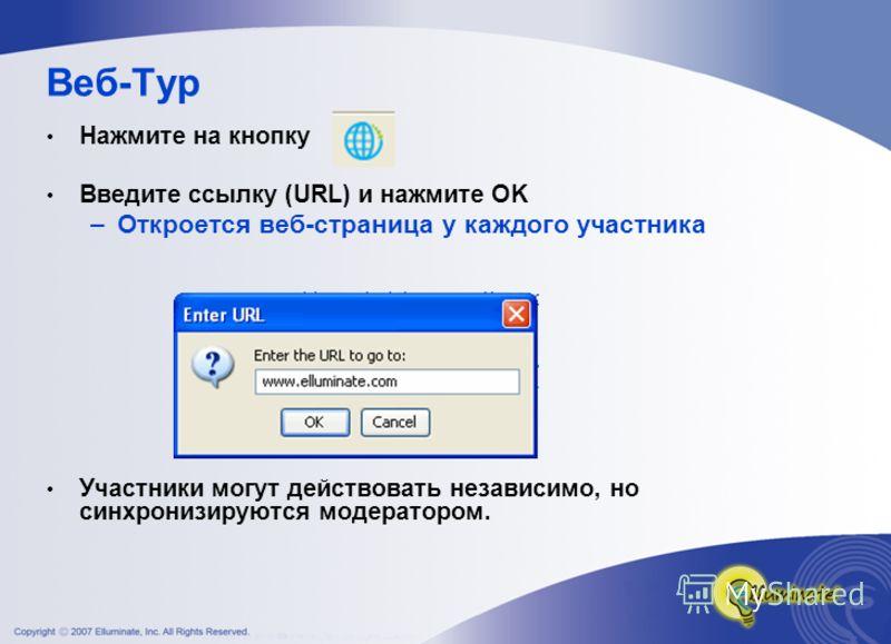 Веб-Тур Нажмите на кнопку Введите ссылку (URL) и нажмите OK –Откроется веб-страница у каждого участника Участники могут действовать независимо, но синхронизируются модератором.