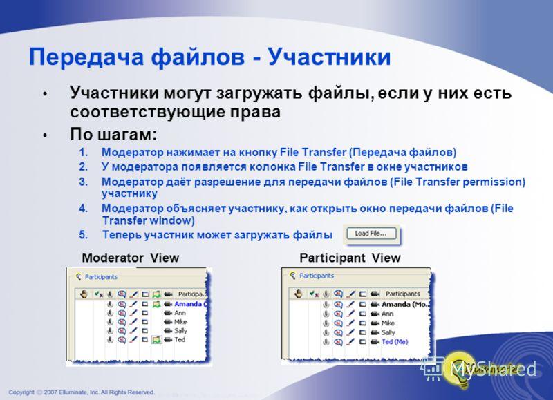 Передача файлов - Участники Участники могут загружать файлы, если у них есть соответствующие права По шагам: 1.Модератор нажимает на кнопку File Transfer (Передача файлов) 2.У модератора появляется колонка File Transfer в окне участников 3.Модератор