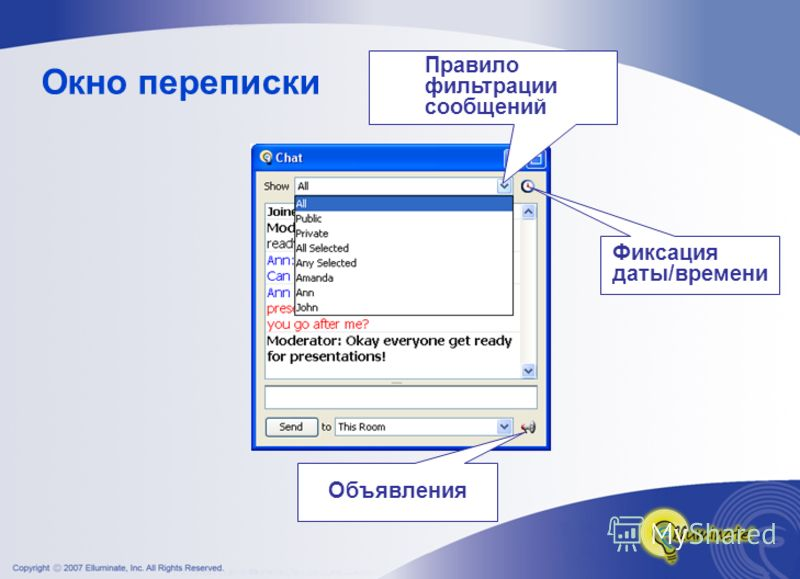 Окно переписки Правило фильтрации сообщений Объявления Фиксация даты/времени