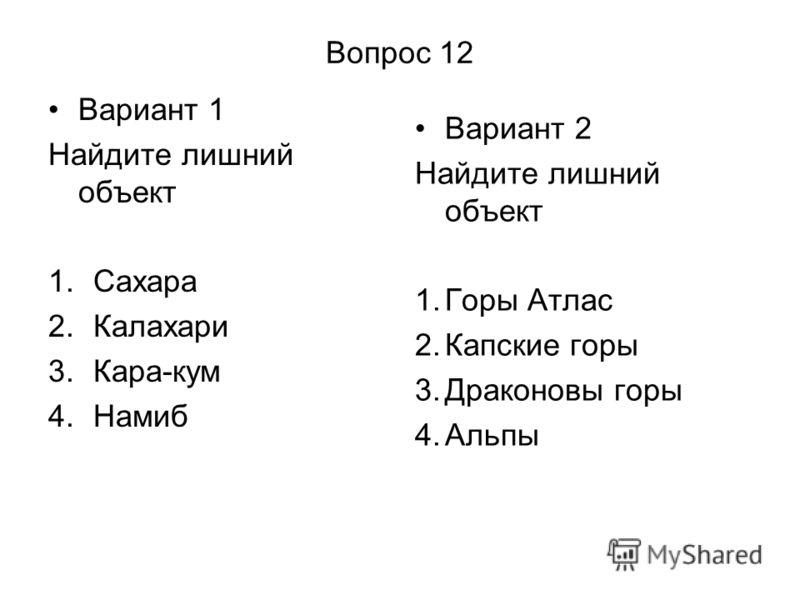 Вопрос 12 Вариант 1 Найдите лишний объект 1.Сахара 2.Калахари 3.Кара-кум 4.Намиб Вариант 2 Найдите лишний объект 1.Горы Атлас 2.Капские горы 3.Драконовы горы 4.Альпы