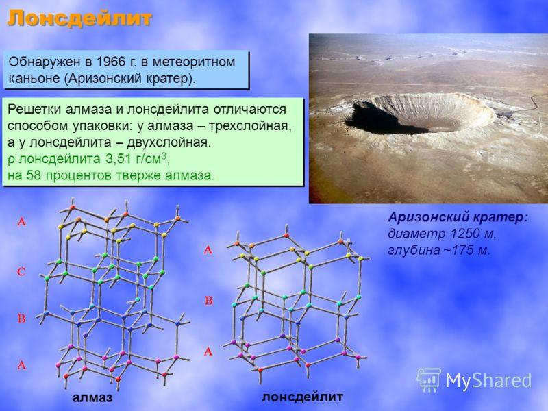 Лонсдейлит Обнаружен в 1966 г. в метеоритном каньоне (Аризонский кратер). Обнаружен в 1966 г. в метеоритном каньоне (Аризонский кратер). Решетки алмаза и лонсдейлита отличаются способом упаковки: у алмаза – трехслойная, а у лонсдейлита – двухслойная.