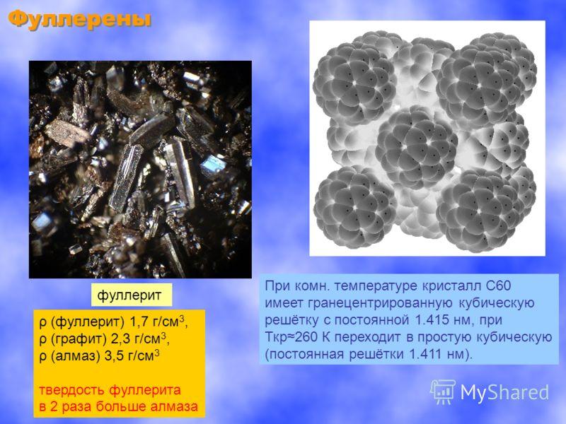Фуллерены фуллерит При комн. температуре кристалл С60 имеет гранецентрированную кубическую решётку с постоянной 1.415 нм, при Ткр260 К переходит в простую кубическую (постоянная решётки 1.411 нм). ρ (фуллерит) 1,7 г/см 3, ρ (графит) 2,3 г/см 3, ρ (ал