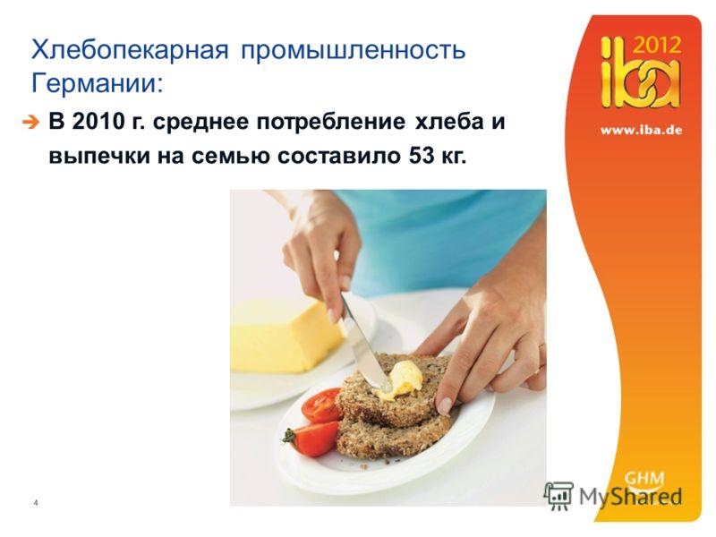 444 Хлебопекарная промышленность Германии: В 2010 г. среднее потребление хлеба и выпечки на семью составило 53 кг.